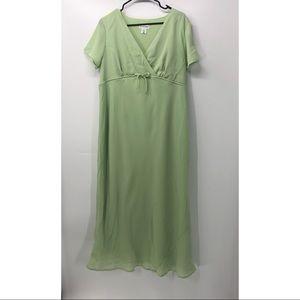Vintage Motherhood Maternity Green Crepe Dress